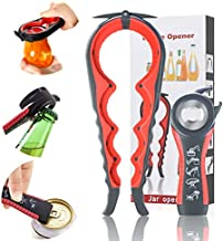 Jar Opener, Upgraded- 5 in 1 Multi Function Can Opener Set, Bottle Opener Kit with Silicone Handle Easy to Use for Children, Seniors with Arthritis Suffering