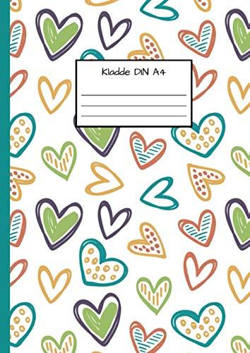 Kladde DIN A4: Notizbuch DIN A4 - Kladde kariert 5 mm - 110 Seiten - Notizheft, Tagebuch, Schreibbuch - Muster von Herzen, Freundschaft und Liebe