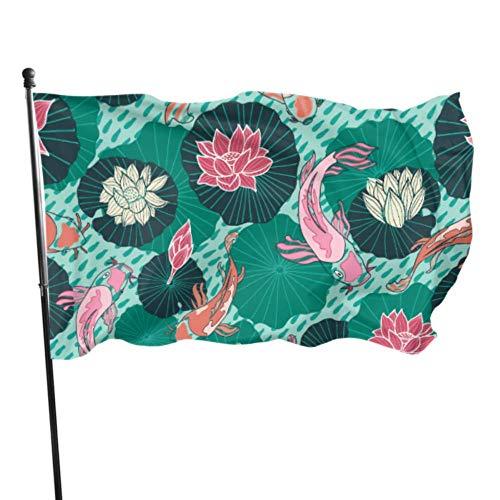 GOSMAO Bandera de jardín Auspicioso Hermoso Koi Color Vivo y Resistente a la decoloración UV Bandera de Patio de Doble Costura Bandera de Temporada Bandera de Pared 150X90cm