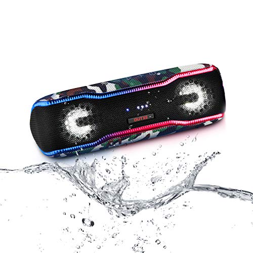 OUTXE Party Bluetooth Speaker 20W, 6 Flashing LED Lights Show & Tapping Booster, IPX7 Waterproof Wireless Speaker Portable, Enhanced Bass/15H Playtime/TWS for Outdoor Parties