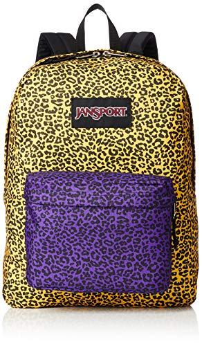 JanSport Black Label Superbreak Backpack - Lightweight School Bag | Yellow Leopard Life Print