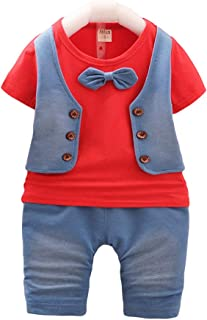 Hopscotch Baby Boys Cotton Waistcoat Style Bow Attached T-Shirt and Pant Set in Red Color for Ages 9-12 Months