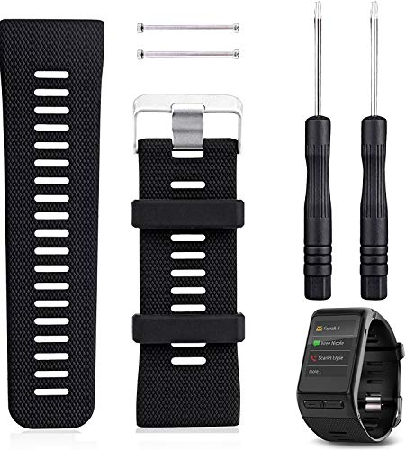 Garmin Vivoactive HR Watch Band Replacement, Rukoy Silicone Wristband Smartwatch Bracelet For Garmin Vivoactive HR Fitness Watch(Black)