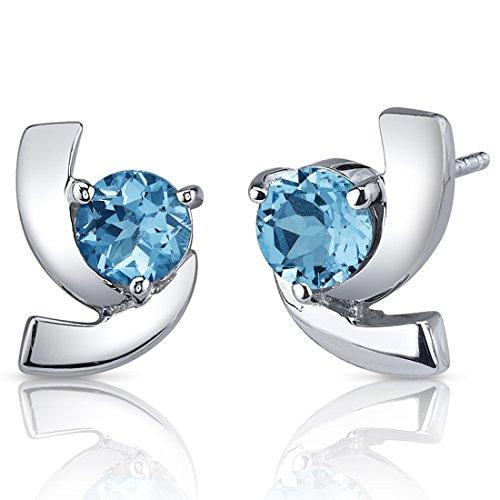 Revoni Damen-Ohrringe925 Topas Blau 1.3 cm - PER-SE7588