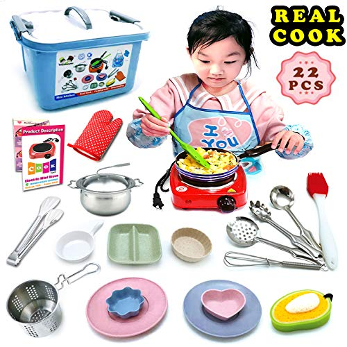 Kids Junior Real Baking Tools and Cooking Culinary Great Educational Gift Utensils Set - 22 Pc. With Stove Burner, Pots Pans for Easy Cook Supplies Chef Toy Costume for Boys, Girls, Kids, Child