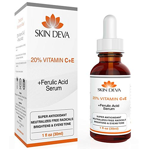 20% Vitamin C & E Plus Ferulic Acid Serum Rejuvenates Skin to Fresh & Beautiful w/Super Antioxidant That Powerfully Neutralizes Free Radicals to Brighten & Even