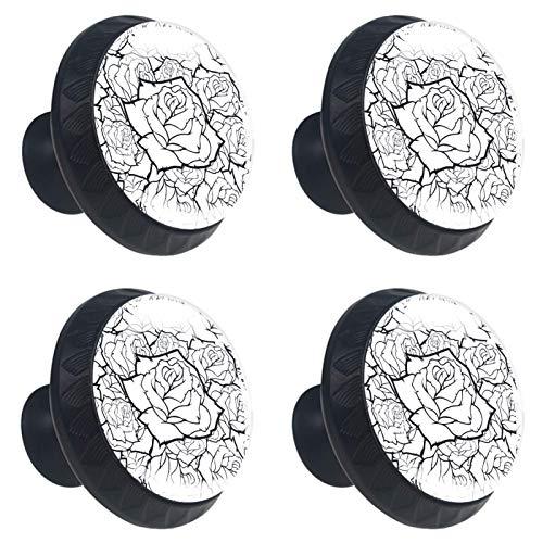 KAMEARI Pomos de cajón con forma de círculo de cristal, 4 unidades, color blanco y negro, con tornillos, para casa, cocina, oficina