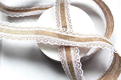 CaPiSo® 10m Juteband mit Spitze Spitzenband Sackleinen Hessische Spitze Jute 25mm breit Lace (Natur)