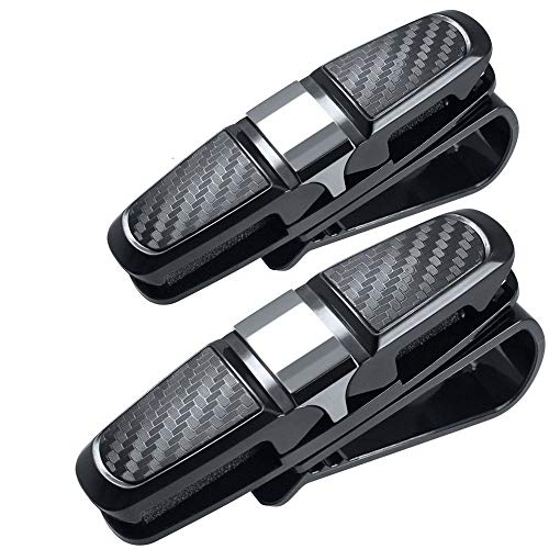 UWOOD 2 Pack Auto Zon Visor Clip Houder Carbon Zonnebril Houder Clip Bril Kooi Opslag Universele Auto Accessoire