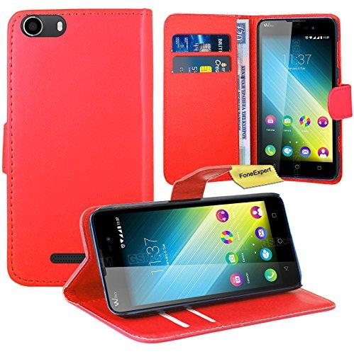 FoneExpert® Wiko Lenny 2 Handy Tasche, Wallet Hülle Flip Cover Hüllen Etui Ledertasche Lederhülle Premium Schutzhülle für Wiko Lenny 2 (Rot)