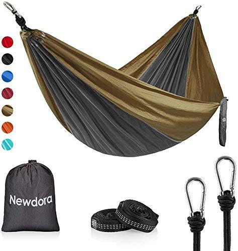 Newdora Camping Hammock - Lightweight Nylon Portable Hammock, Best Parachute Double Hammock for Backpacking, Camping, Travel, Beach, Yard. 105'(L) x 56'(W), with Hammock Straps