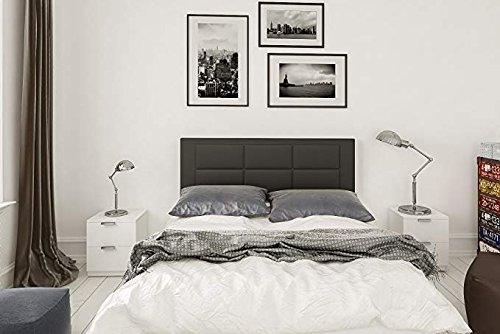 HOGAR24 ES Conjunto cabecero tapizado Negro + 2 mesitas de Noche Color Blanco