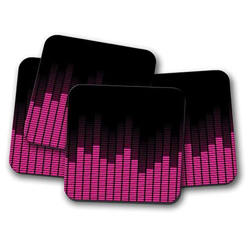 Juego de 4 posavasos ecualizadores de música morada, banda de DJ para adolescentes y niñas, regalo rosa #15846