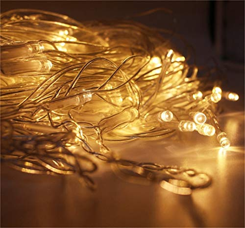 WDOPZMQ Warm White Fairy String Lights 8 Modes 100 LED Waterproof Window Lights For Outdoor Indoor, Bedroom Wedding Decorations, Party, Gazebo, Garden (Color : Warm white)