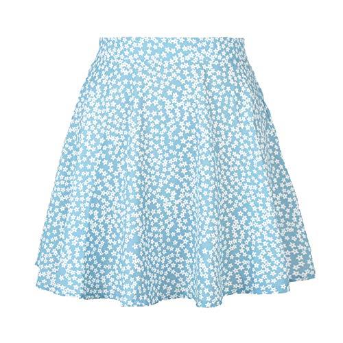 HRSD Estampado Mujer Volantes Básica Falda Multifuncional Faldas Cortas Casual Mini Bohemio Corto Elástica Plisada con Flora Playa Vacaciones,Azul,L