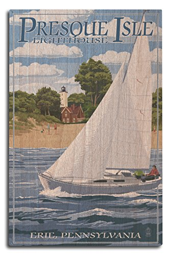 Lantern Press Erie, Pennsylvania - Presque Isle Lighthouse (10x15 Wood Wall Sign, Wall Decor Ready to Hang)