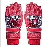 Winter Kinderhandschuhe Junge Skifahren Warme Wasserdichte Mädchen Cartoon Schüler Nette Outdoor Verdicken Handschuhe (Farbe : Red, größe : L)