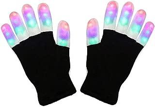 Charlemain LED Handschuhe mit 3 Lichtfarbe und 6 Modus, blinkende Handschuhe Spielzeug für Weihnachten, Halloween, Kostüm Beleuchtung Geschenke für Kinder, Mädchen, Junge, Erwachsene (für Erwachsene)