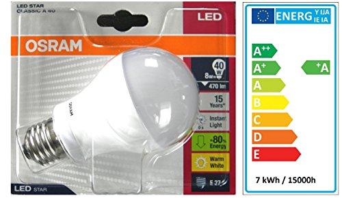 6 x Osram LED Star Classic A40 7 Watt ersetzt 40 Watt Sockel E27 Warm White Normallampenform 220-240 50/60 Hz15000h