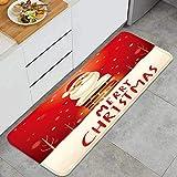 Alfombra de Cocina Antideslizante,Feliz Navidad Santa Claus Chimenea Nieve,Estera de Cocina Felpudos Decorativo Alfombra para Dormitorio Baño Pasillo 45 x 120cm
