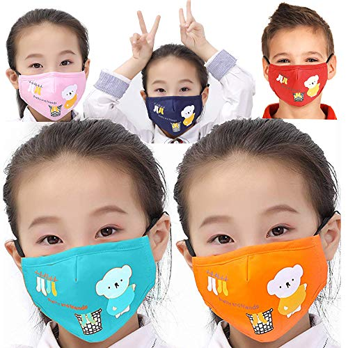 Cartoon Bear Cotton Face Shield Cover, Washable Reusable for kids, Children (Red, Blue, Orange, Pink, Navy)