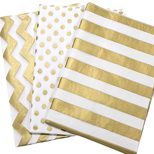 Whaline 60 Blatt Seidenpapier Metallic, Geschenkpapier Gold für Geschenk Geburtstag Hochzeit Taufe Verpackung, 50x70cm