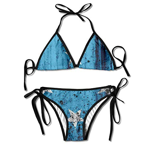 Old Grunge Micronesia Oceania Flag Womens Bikini Set Beach Swimwear Adjustable Halterneck Swimsuit 2 Piece