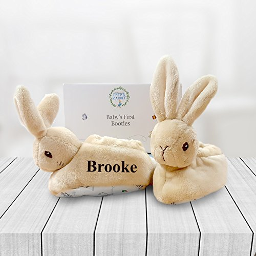 Personalised Peter Rabbit Baby's First Booties ~ Made from super soft plush