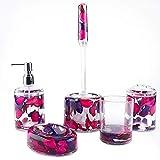 Locco Decor 5 Piece Acrylic Liquid 3D Floating Motion Bathroom Vanity Accessory Set (Leaf)