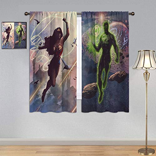 ARYAGO Black Out Cortinas de la Liga de la Justicia, Wonder Woman & Green Lantern cortina de ventana cortina para habitación de niños 106 x 137 cm