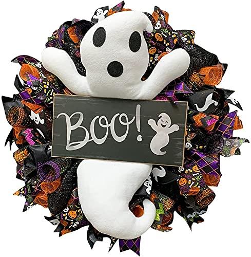 DHZYY De Halloween Fantasma Blanco de la guirnalda artificial de madera de la puerta principal de bombeo Bienvenido murciélagos pared boda ornamentos colgantes de vacaciones al aire libre ventana Inic