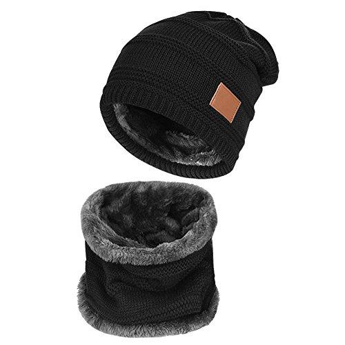 Yidarton Wintermütze Winterschal Warm Beanie Strickmütze und Schal für Damen und Herren (S-Schwarz)