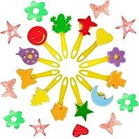 SPECOOL 56 Pezzi Pennelli Spugna per Pittura Set per Bambini, Pennello da Disegno per Bambini, Paint Spugne per Bambini Lavabile Set, la Pittura di DIY Arte e Mestieri, Grembiule #4