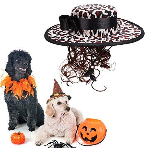 Jeanoko Lindas sudaderas de invierno, accesorios de Navidad para mascotas, peluca de disfraz, con sombrero, peluca y capa, cmodo y (PF32 estampado de leopardo blanco, S)