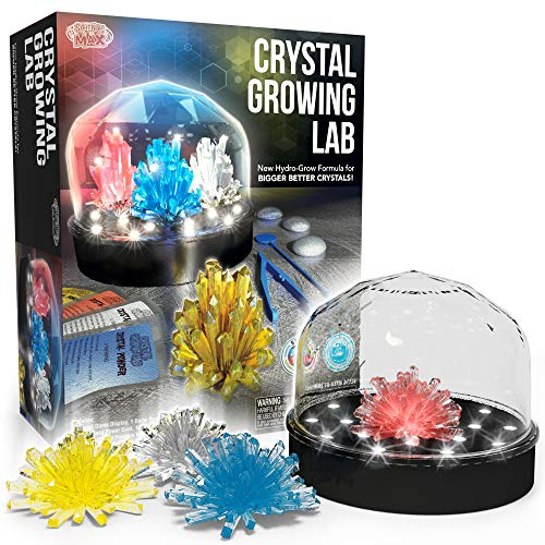 Be Amazing! Toys DIY Crystal Growing Experiment Kit for Kids W/Light Up Display Dome - Make Your Own Crystals - Science Toys for Boys & Girls - Grow 4 Large Crystals - Advanced Crystal Making Formula