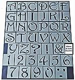 Buchstaben- und Zahlen-Schablonen-Set, Shabby Chic, Vintage-Stil, 65 mm, quadratisch, für Möbel