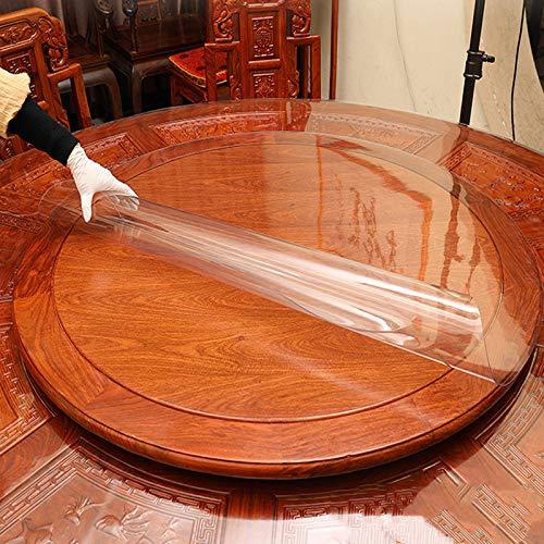 Deirdre Agnes Tovaglia Rotonda in PVC Tovaglia Trasparente Resistente all'olio Tampone di Vetro Morbido di Alta qualità Impermeabile 110 cm Diametro Rotondo