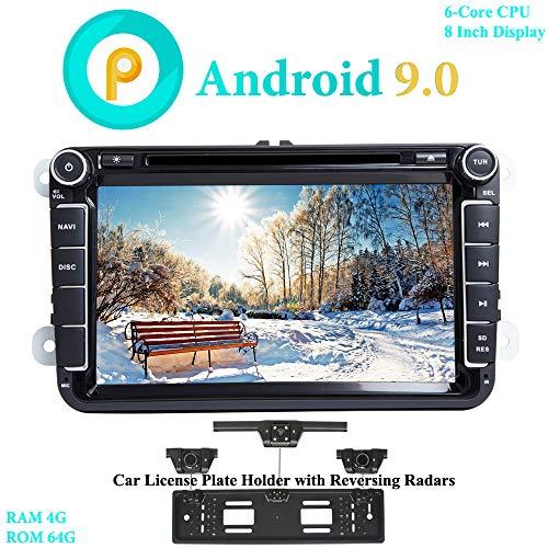 XISEDO Android 9.0 Autoradio 8' In-dash Car Radio 6-Core RAM 4G ROM 64G Car Stereo e Lettore DVD per Volkswagen Golf/Passat/Caddy/Fabia (con Carta Targhetta Auto con Radar di Parcheggio)