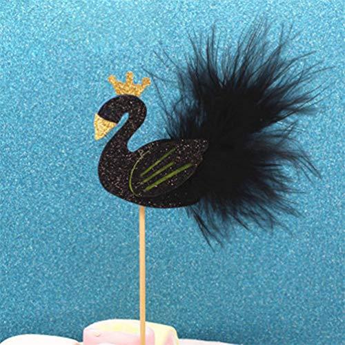 bismarckbeer - Decoración para Tarta de bebé, diseño de Cisne con Plumas, Negro, Talla única