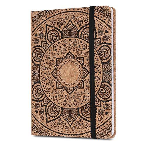 Navaris Quaderno con Copertina in Sughero - Taccuino a Righe con Segnalibro e Banda Elastica - Paper Note-Book 17.8x12.8x1.5cm - Design Sole Indiano