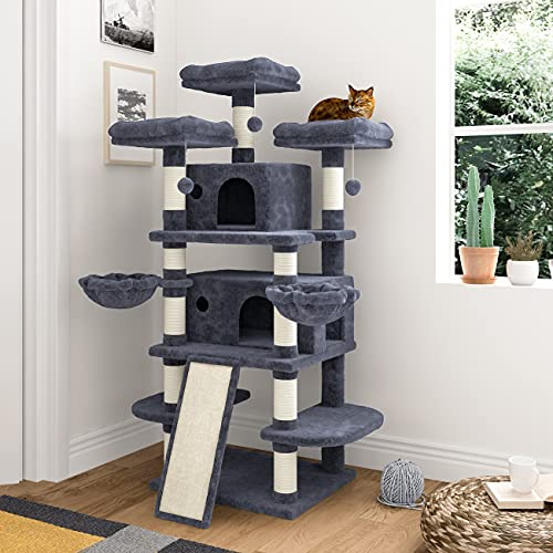 IMUsee 68 Inches Multi-Level Large Cat Tree for Large Cats/Big Cat Tower with Cat Condo/Cozy Plush Cat Perches/Sisal Scratching Posts and Hammocks/Cat Activity Center Play House/Blue