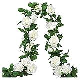 HongTeng-Seto de Plantas Artificiales 3 Piezas de Guirnalda de Rosa Blanca Flor Vid Colgando Flor Ivy Boda Flor Arch Garden Guirnalda Decoración