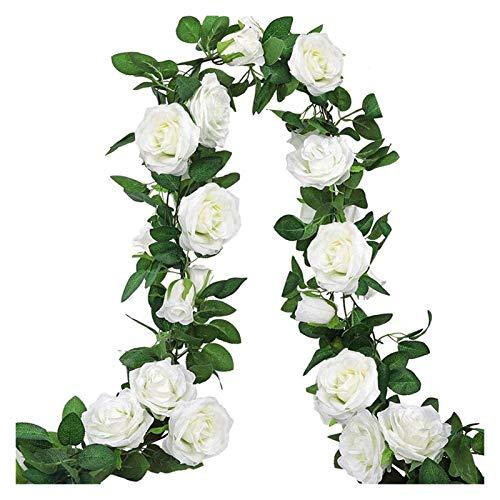 HongTeng-Artificial plant hedge 3 Pieces Of White Rose Wreath Flower Vine Hanging Flower Ivy Wedding Flower Arch Garden Wreath Decoration
