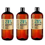 Naissance Huile d'Amande Douce (n° 215) - 3 litres (3 x 1L) - 100% naturelle, végan, sans OGM - parfaite pour les massages, le soin des cheveux et de la peau