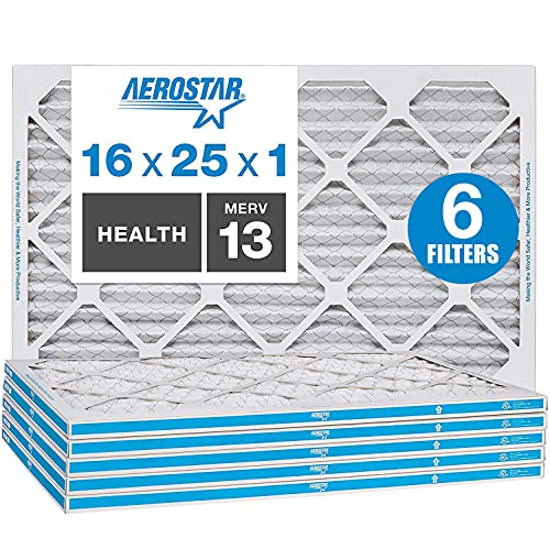 Aerostar 16x25x1 MERV 13 Pleated Air Filter, AC Furnace Air Filter, Captures Virus Particles, 6-Pack (Actual Size: 15 3/4'x 23 3/4' x 3/4')