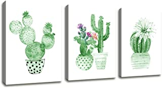 Wall Art Contemporary Simple Life Green Cactus Painting Wall Art Decor - 3 Panels Framed Canvas Prints Small Fresh Tropical Plants Watercolor Giclee Ready to Hang Home Decorations Office Decor Gift