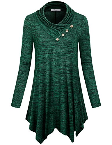 Handkerchief Hem Tunic,Cestyle Women Long Sleeve Cowl Neck Asymmetrical Tops Pleated Front T Shirt Dress Space Dye Green X-Large