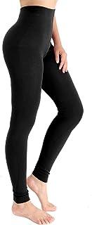 Ypser High Waisted Fleece Lined Soft Solid Full Length Leggings for Women