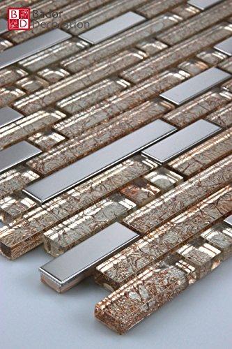 11Tappetini 1m² mosaico di vetro mosaico piastrelle mattonelle di acciaio Inossidabile Metallo Effetto Metallo Oro Argento