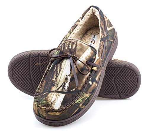 ArcticShield Mens Memory Foam Indoor/Outdoor Durable Comfortable Slip On Moccassin Slippers (10 (M) US, Camouflage)